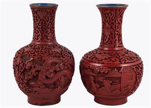 Lotto 71 - Coppia di vasi in lacca rossa