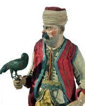 Lotto 13 - Orientale ricco con pappagallo in terracotta